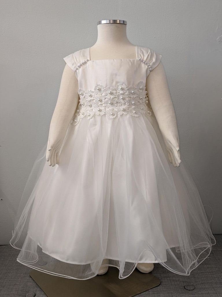Toddler Girls' Tulle Embroidered Off-White Dress (72-111T) - Malcolm Royce