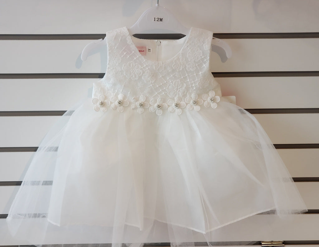 Infants Tulle Embroidered Off White Girls Dress 85-07 - Malcolm Royce