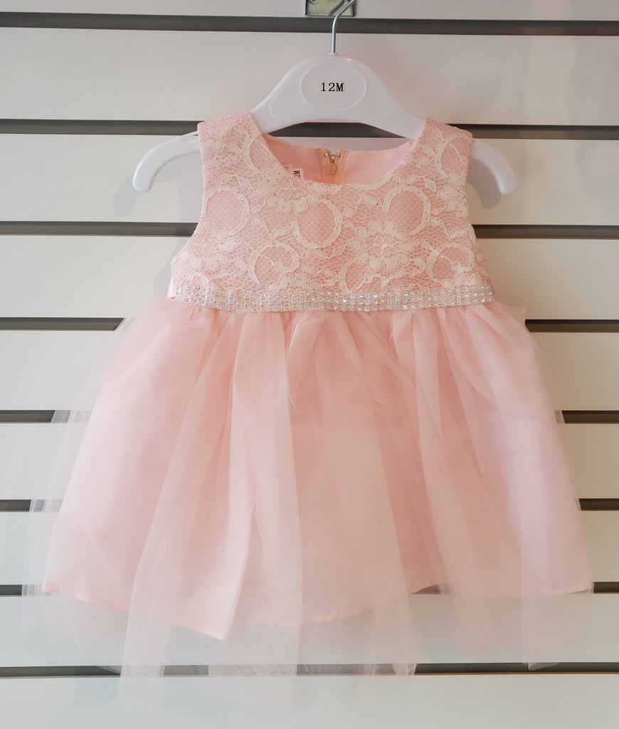 Infants' Tulle Embroidered Peach Girls Dress 85-04 - Malcolm Royce