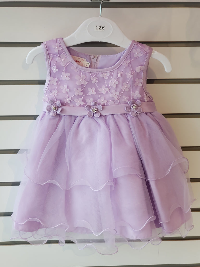 Infant Girls Lilac Organza Embroidered Dress 84-614 - Malcolm Royce
