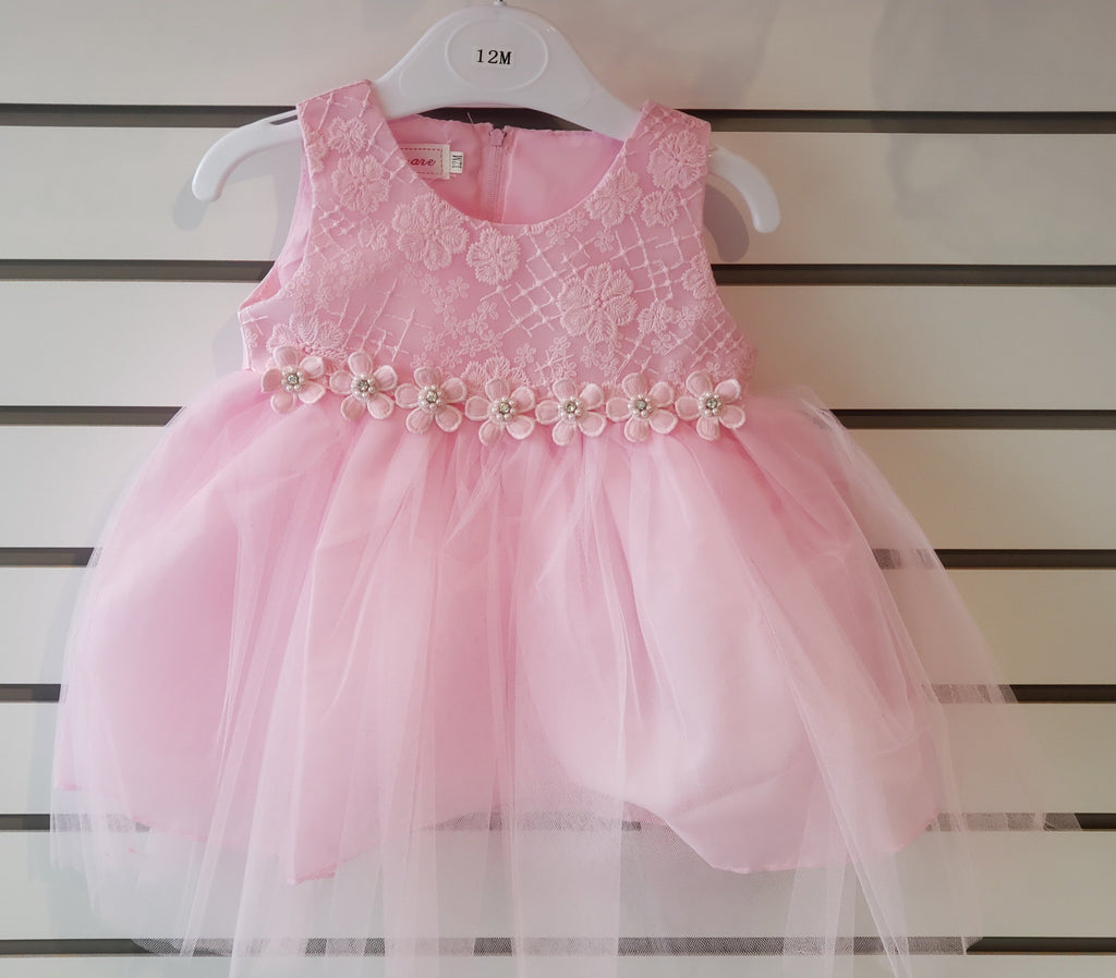 Infants' Tulle Embroidered Pink Dress (85-07) - Malcolm Royce