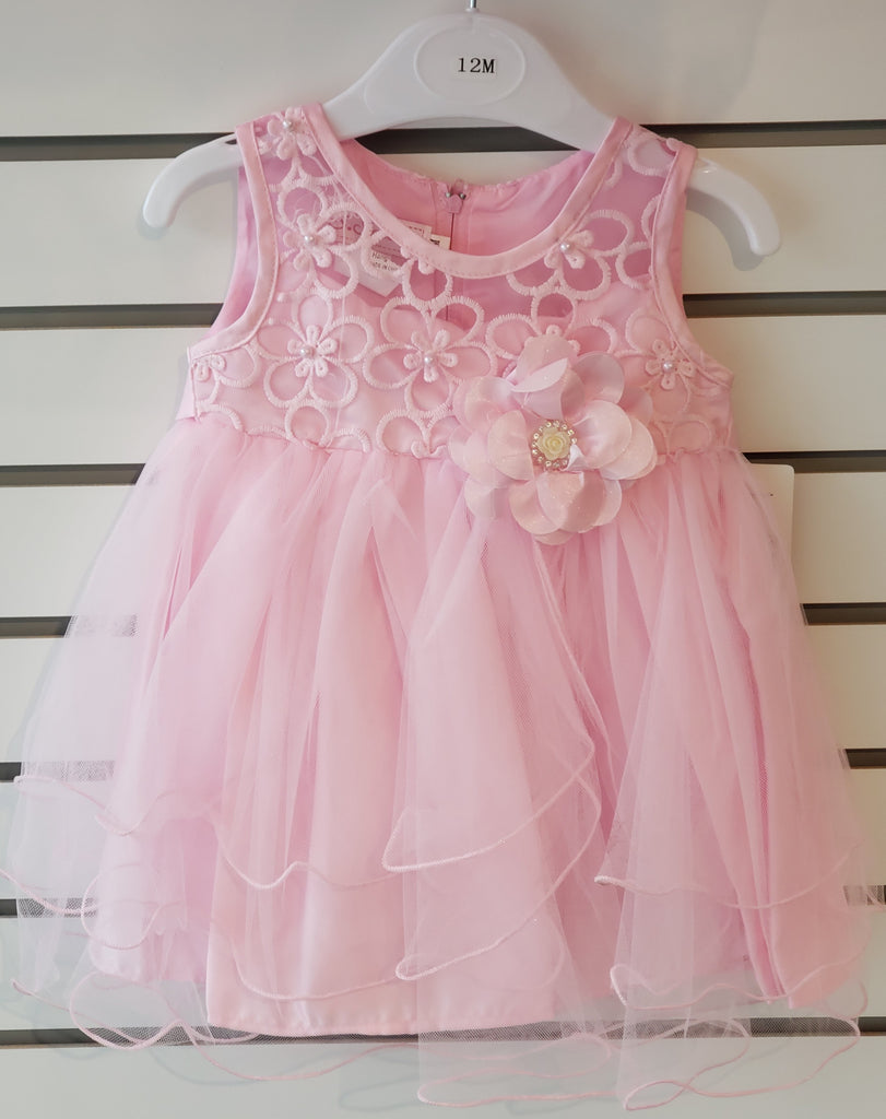 Infant Girls Embroidered Pink Dress 67-859 - Malcolm Royce