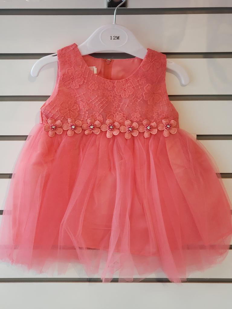 Infants' Tulle Embroidered Coral Dress (85-07) - Malcolm Royce