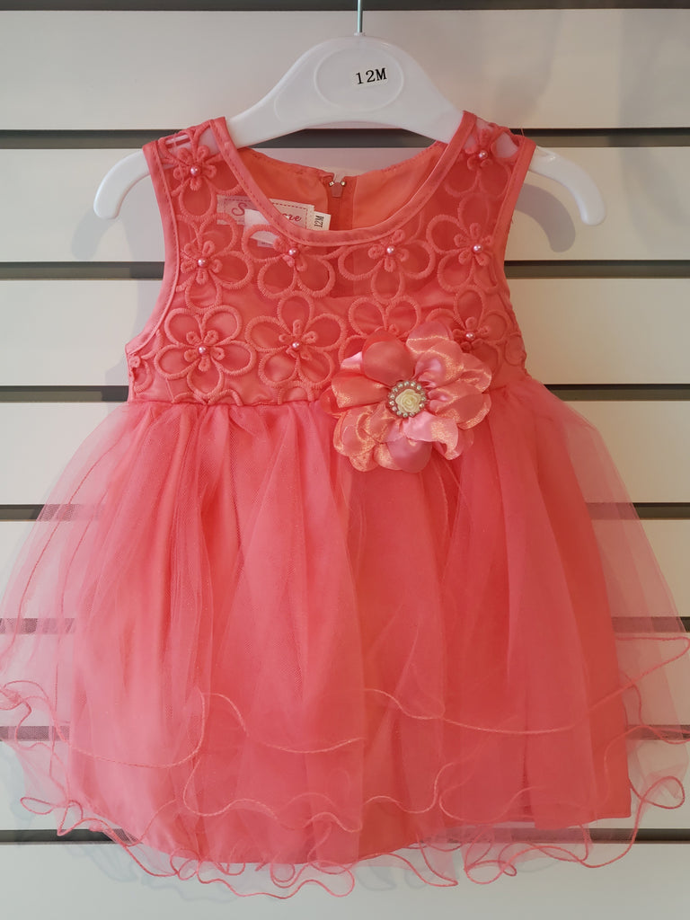 Infant Girls Dress Embroidered Coral 67-859 - Malcolm Royce