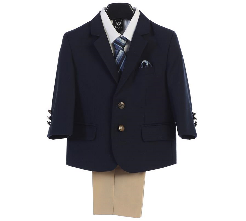 Executive Boys Navy/Khaki Suit (3588) - 2T, 6, and 10 - Malcolm Royce