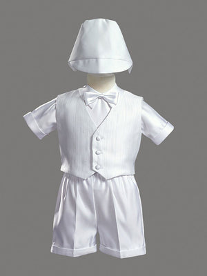 Boys White 4 Piece Satin Shorts Set w/ Bedford Cord Vest