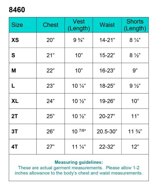 measurement chart for boys baptism outfit