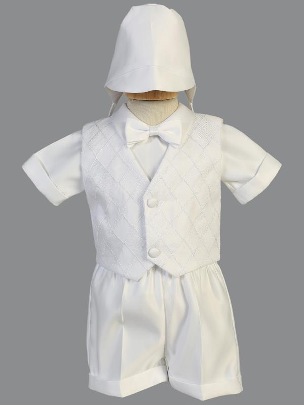 Baby Boys White Baptism Christening Outfit (8477) - Malcolm Royce