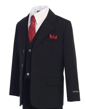Black w/ Pinstripe - Formal Boys Suit