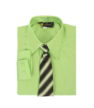 Boys Apple Green Long Sleeve Formal Dress Shirt and Tie