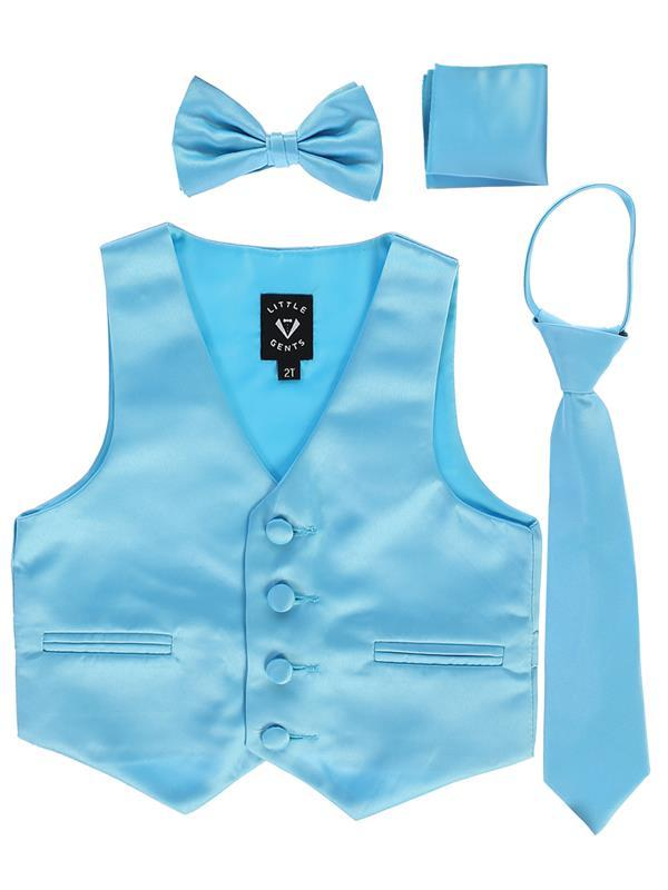 Boys Aqua Blue Satin Vest Set (3-6 mths to 14) - Malcolm Royce