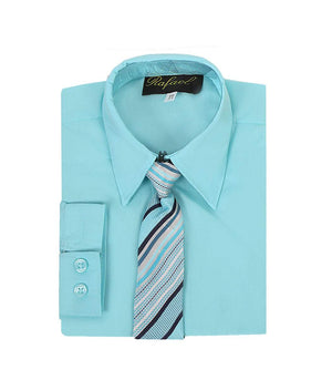 Boys Aqua Long Sleeve Formal Dress Shirt and Tie