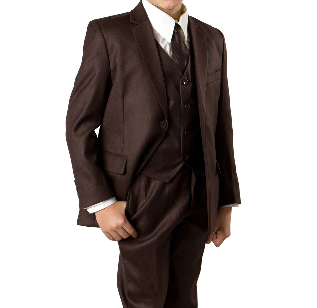Tazio Brown Formal Classic Fit Suits For Boys - Malcolm Royce