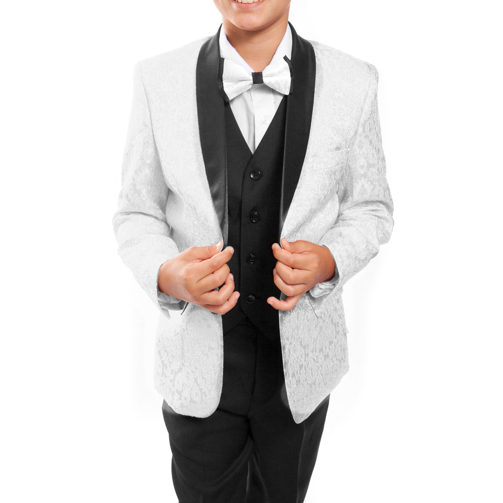 Tazio White / Black Formal Suits For Boys - Malcolm Royce