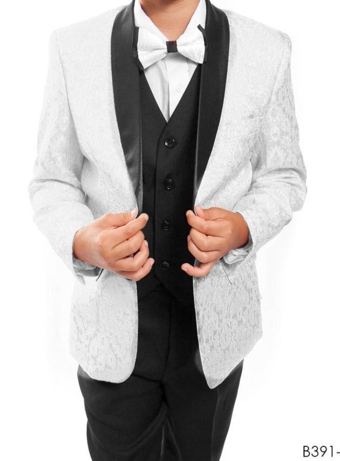 Boys White Executive Tuxedo with Patterned Jacket 391 - Malcolm Royce