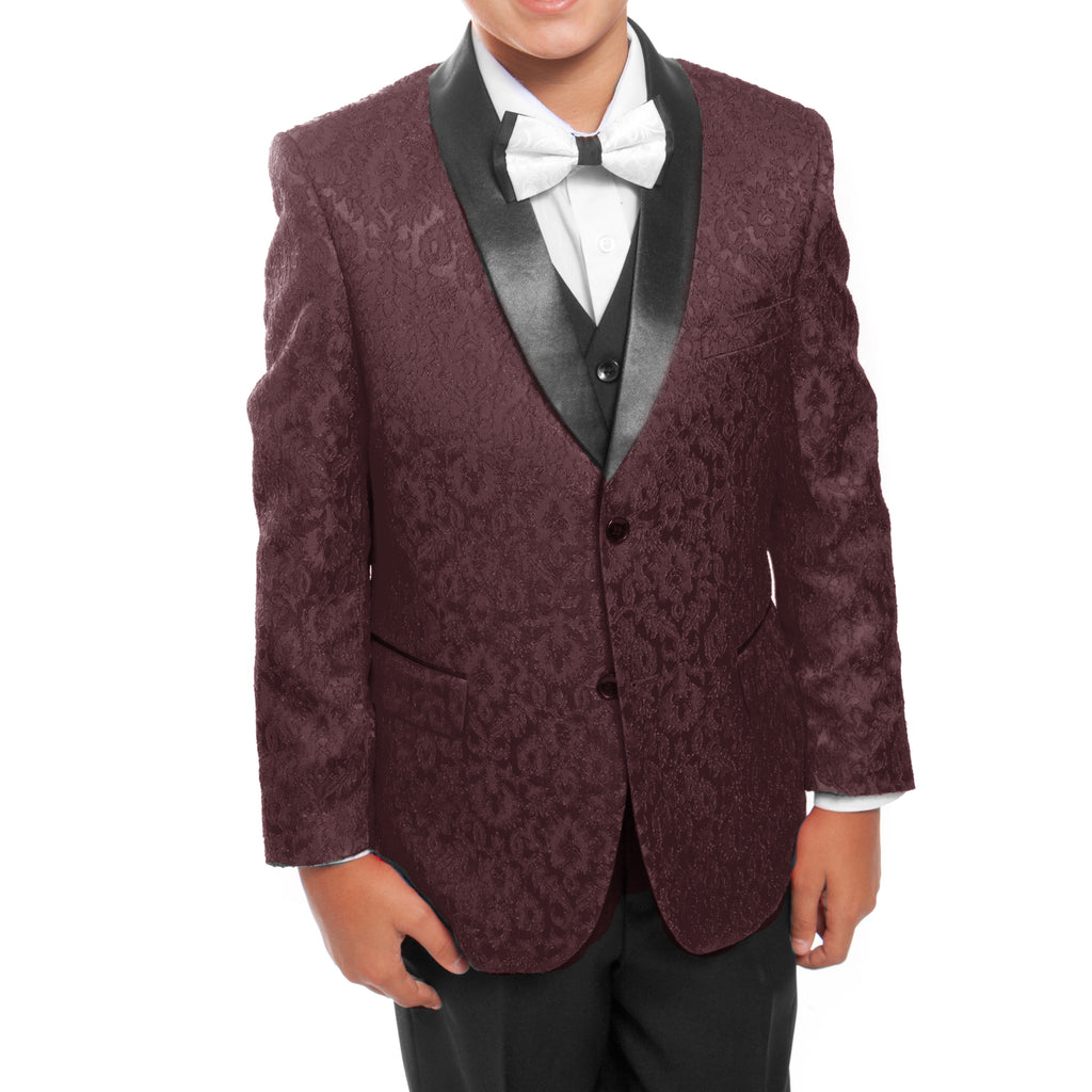 Tazio Burgundy / Black Formal Suits For Boys - Malcolm Royce