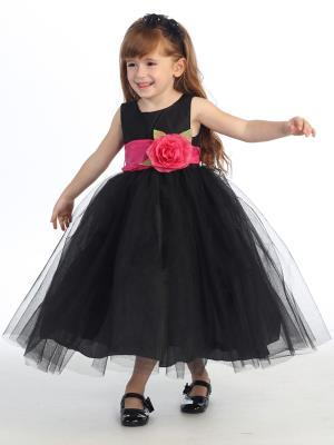 Flower Girls Black Dress w/ Choice of Detachable Flower & Sash (12-90P)