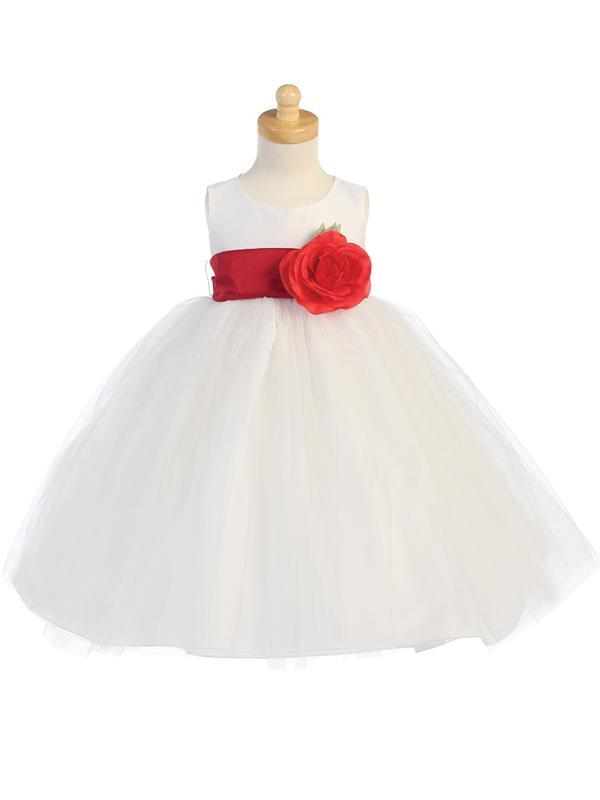 White Flower Girl Dress w/ Choice of Detachable Flower & Sash (12-90P)