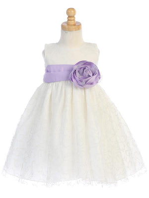 Ivory Glitter Tulle Flower Girl Dress w/ Choice of Flower & Sash