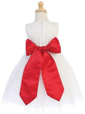 White Glitter Tulle Flower Girl Dress w/ Choice of Flower & Sash