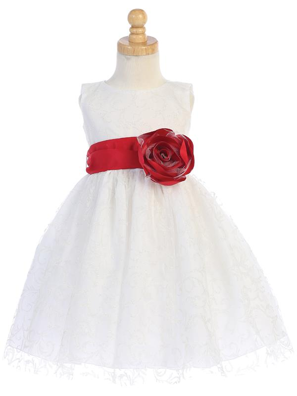 White Glitter Tulle Flower Girl Dress w/ Choice of Flower & Sash (7-76)