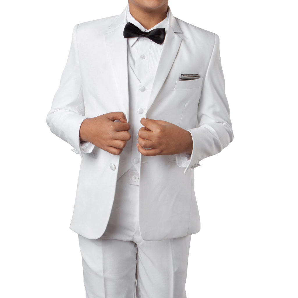 White Tuxedo Set with Matching Shirt And Tie Tuxedo For Boy's - Malcolm Royce