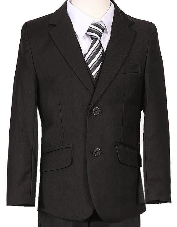 Boys Black Executive Slim Suit 5PC029 - Malcolm Royce
