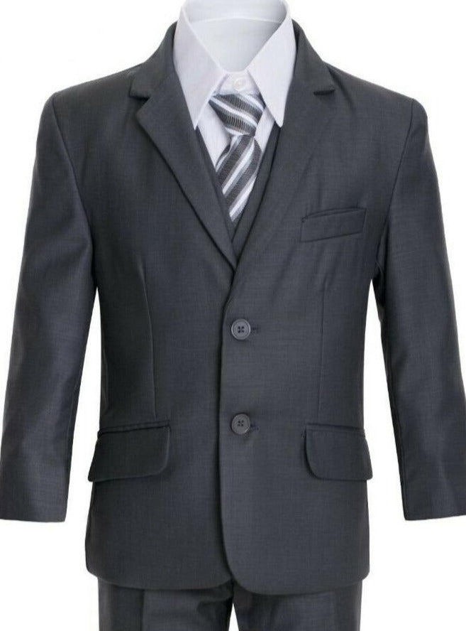 Boys Charcoal Executive Slim Suit 5PC029 - Malcolm Royce