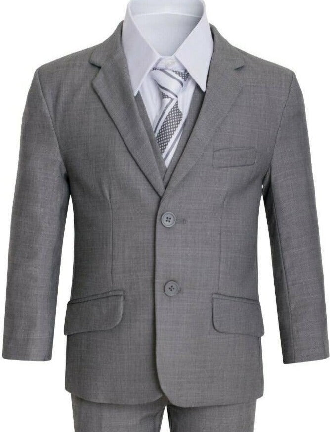 Boys Grey Executive Slim Suit 5PC029 - Malcolm Royce