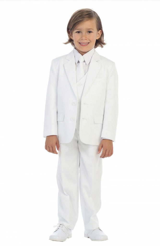 Boys White Executive Slim Suit 5PC029 - Malcolm Royce