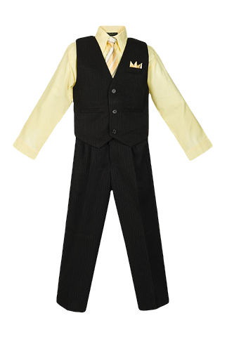 Boys Pinstripe Vest Suit with Banana Yellow Shirt and Tie - Malcolm Royce