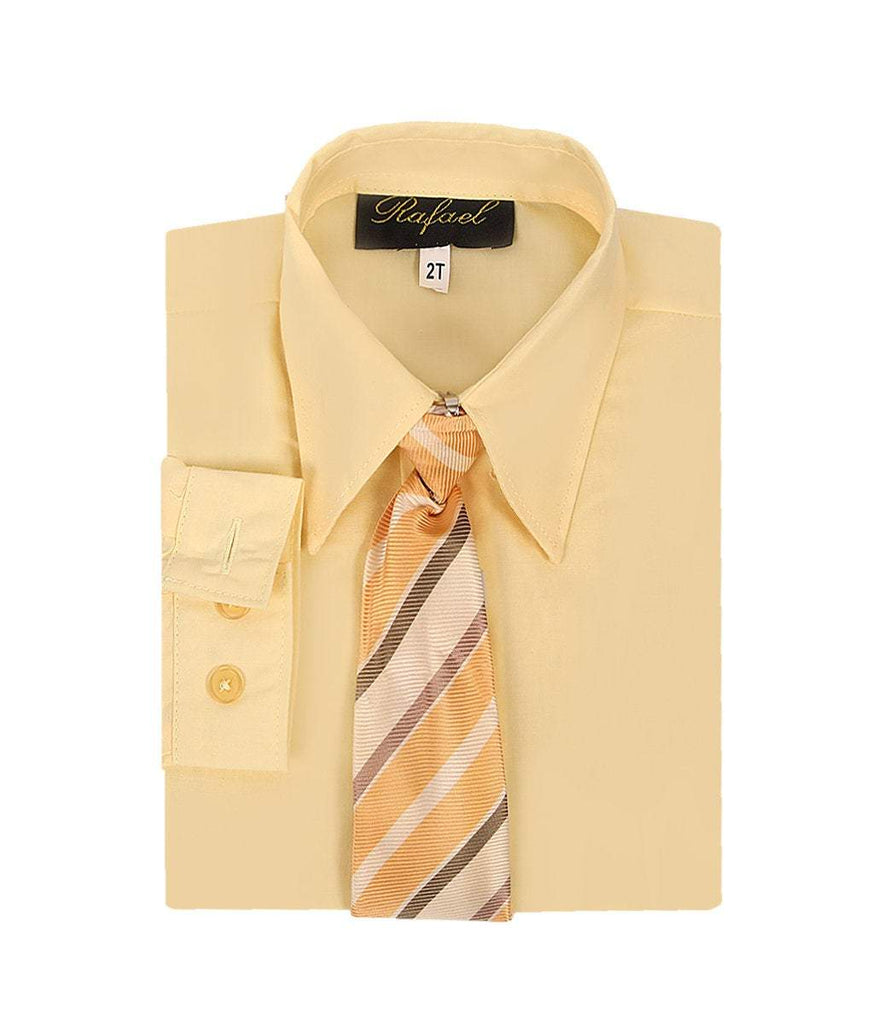 Boys Banana Yellow Formal Dress Shirt and Tie