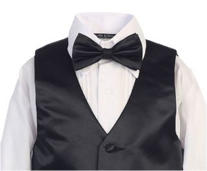 Vest of boys black tuxedo close up