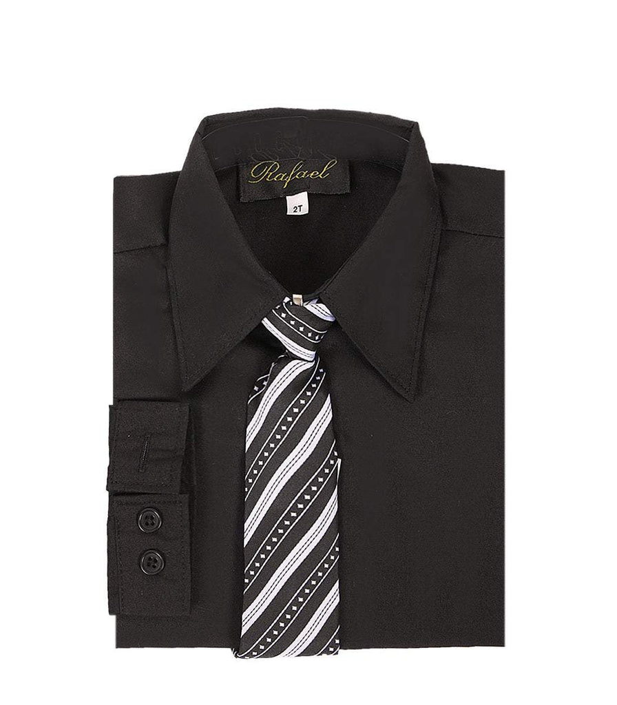 Boys Black Formal Dress Shirt and Tie - Malcolm Royce