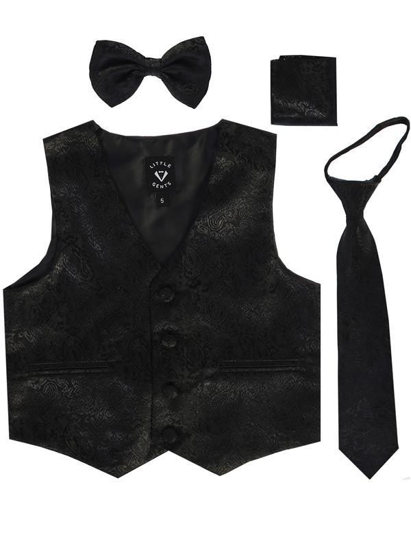 Boys Black Paisley Satin Vest Set (3-6 mths to 14) - Malcolm Royce
