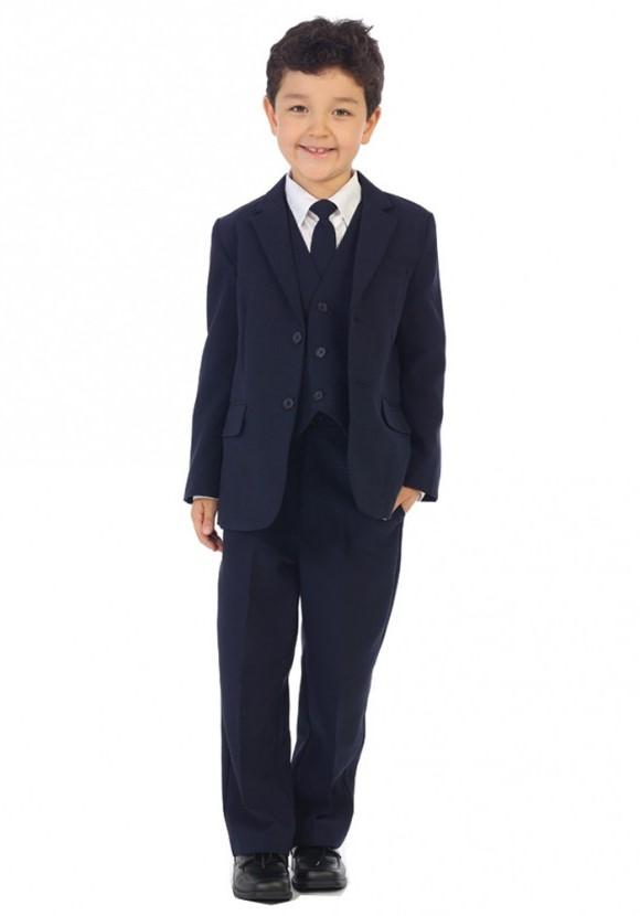 Size 5 Boys Navy Suit Classic Slim - Malcolm Royce