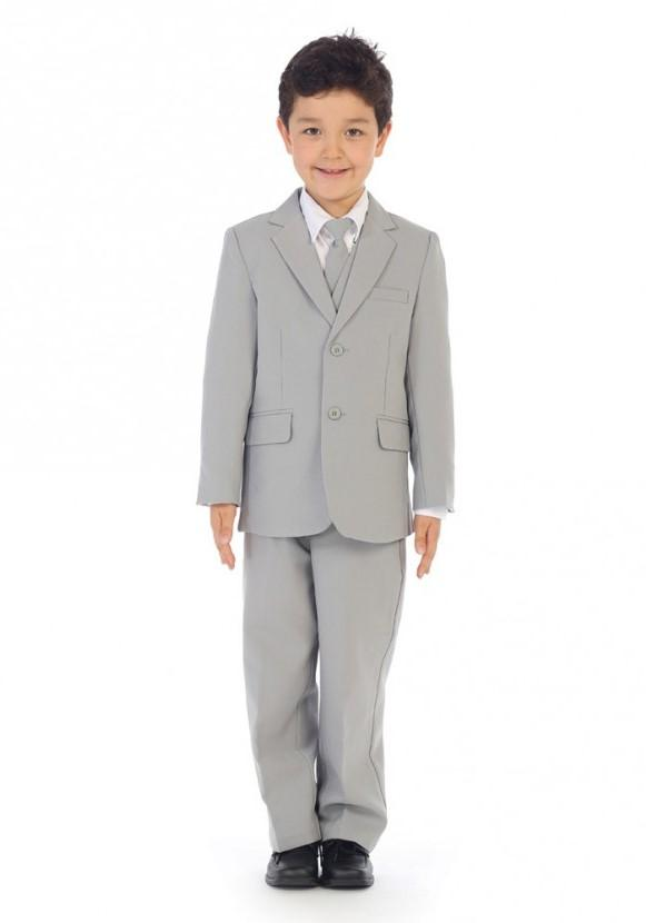 Boys Light Gray Suit Classic Slim - Malcolm Royce