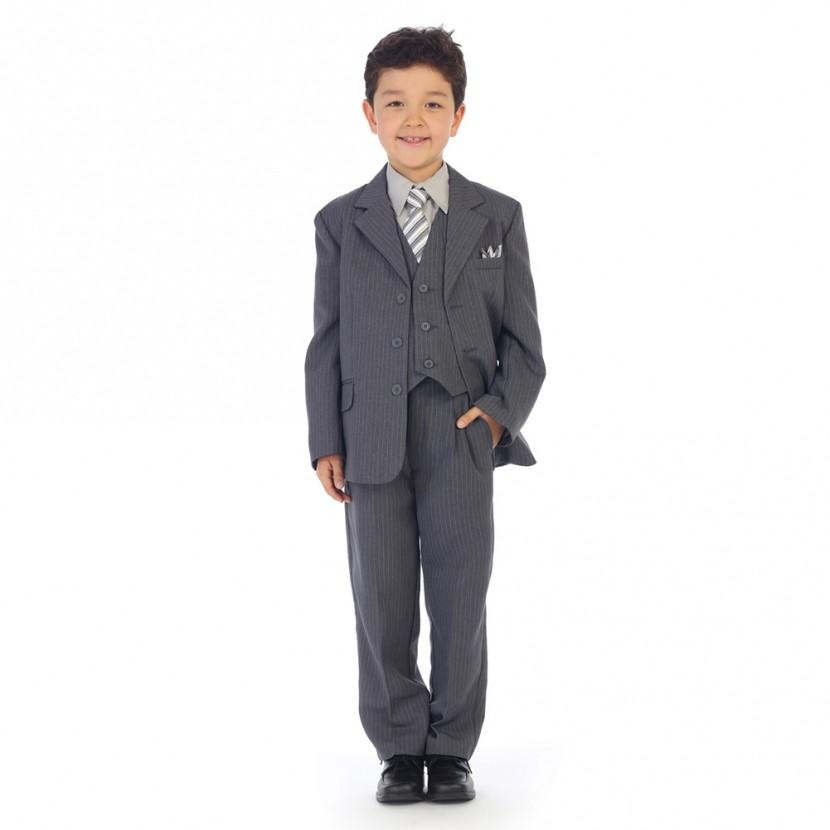 Grey w/ Pinstripe - Formal Boys Suit - Malcolm Royce
