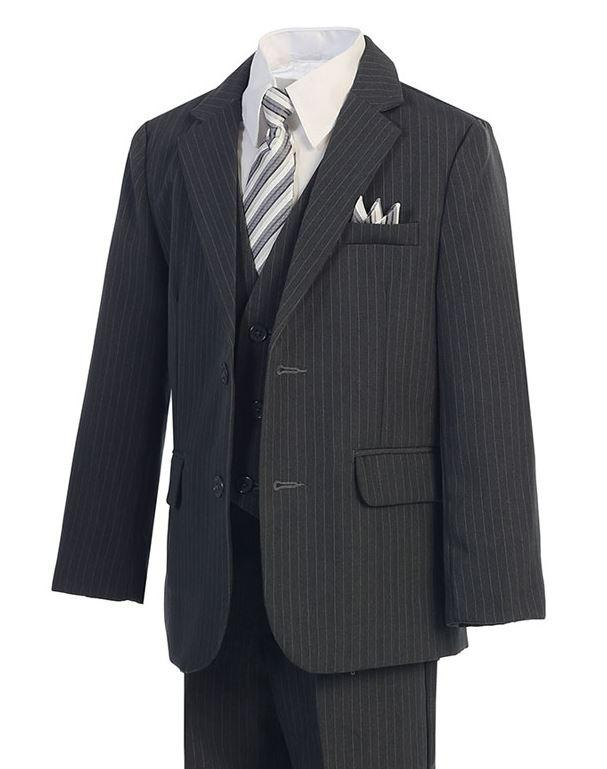 Charcoal Gray w/ Pinstripe - Formal Boys Suit - Malcolm Royce