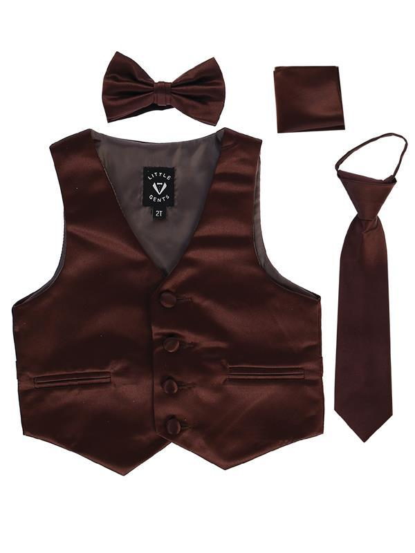 Boys Brown Satin Vest Set (3-6 mths to 14) - Malcolm Royce