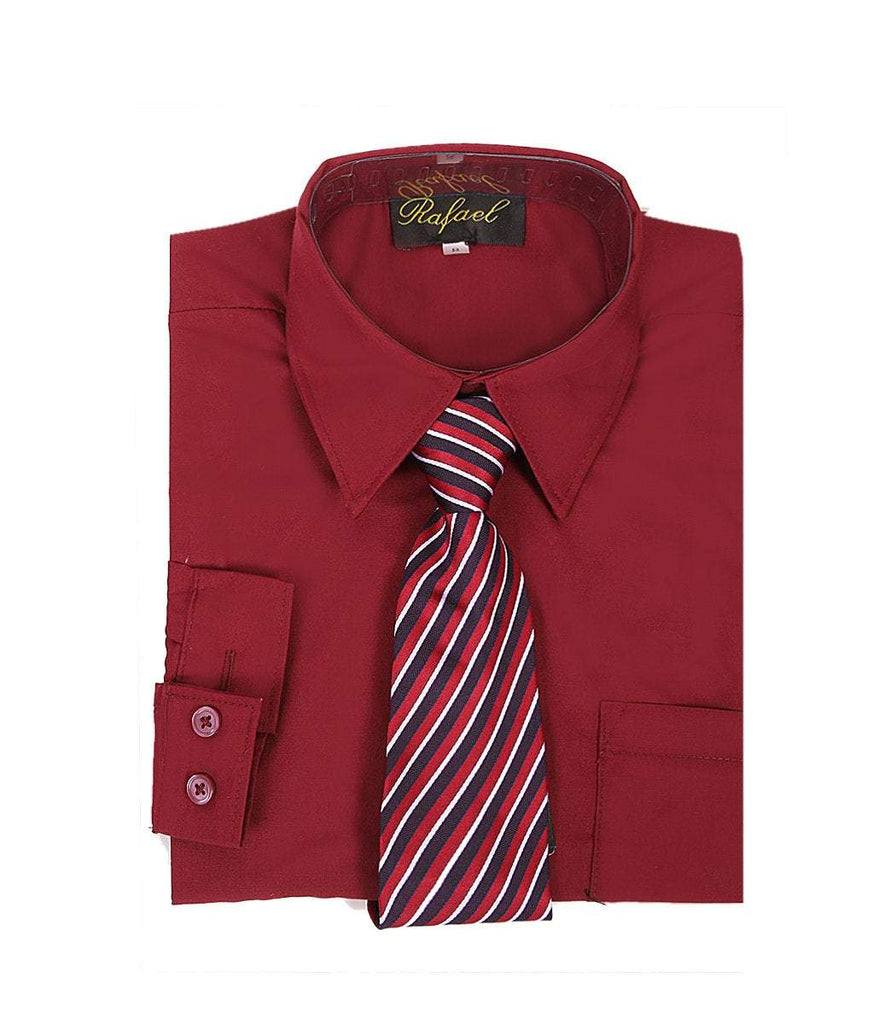 Boys Burgundy Formal Dress Shirt and Tie - Malcolm Royce