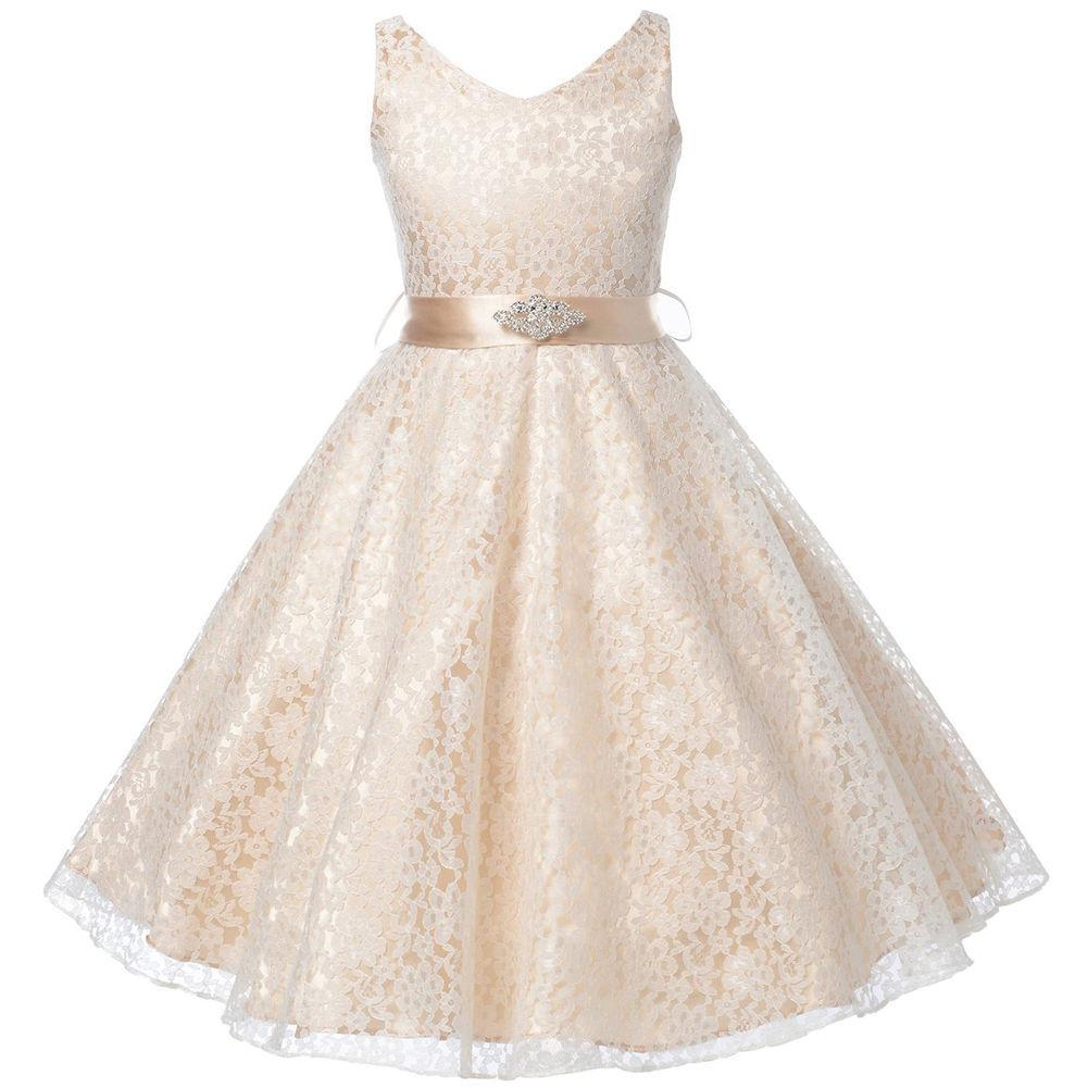f352da3533 Buy Your Lace Flower Girl Dresses (Champagne