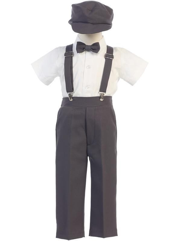 Infants Toddlers Boys Charcoal Pants and Suspenders Outfit 825 - Malcolm Royce