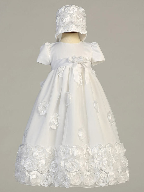 Girls Christening & Baptism White Gown Dress - Clarice - Malcolm Royce