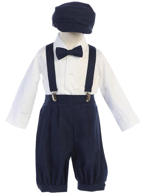 Toddlers Navy Knickers Outfit with Suspenders G827 - Malcolm Royce