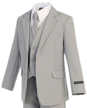 Toddlers grey suit looking smart