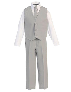 Boys gray suit modelled without jacket