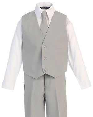 Close up of vest of boys gray suit