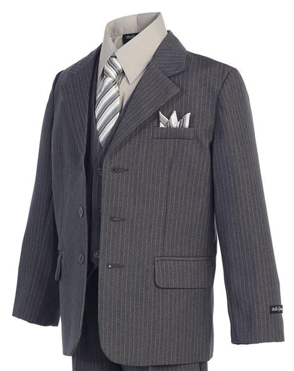 Pinstripe - Gray - Formal Boys Suit
