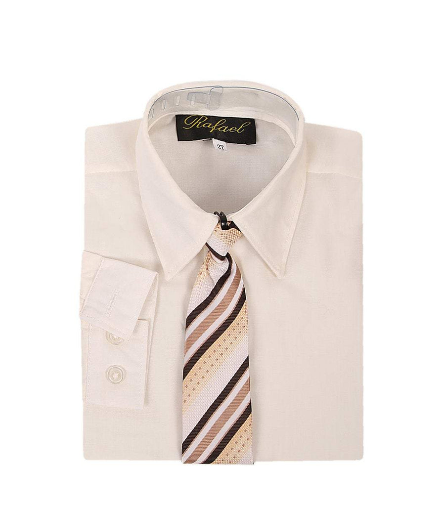 Boys Ivory Formal Dress Shirt and Tie - Malcolm Royce
